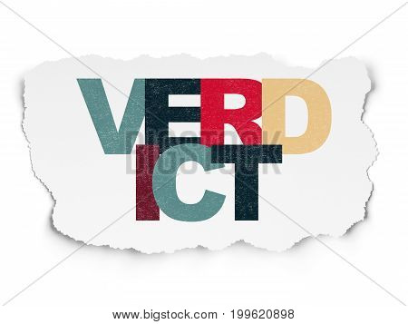 Law concept: Painted multicolor text Verdict on Torn Paper background