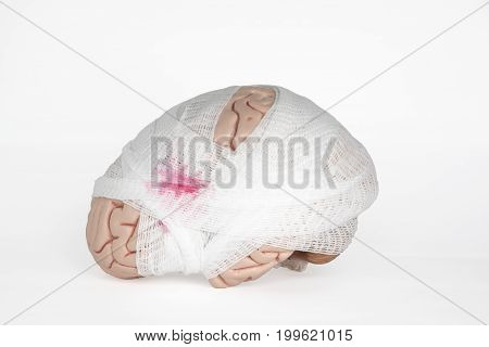 Human brain model with gauze wrapping demonstrating brain injury on the white background