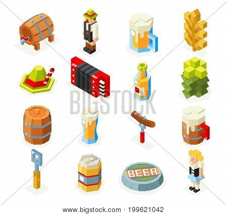 Oktoberfest isometric 3d polygon lowpoly icons set beer keg man woman accordion cap sausage foam fork glass flat design vector illustration