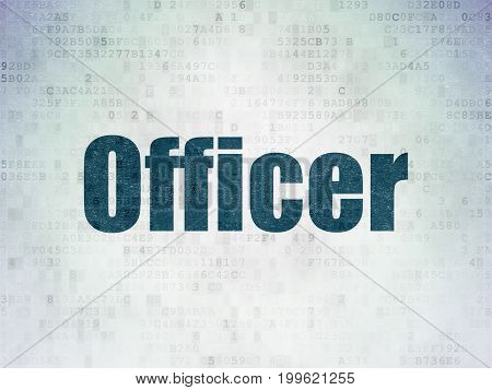 Law concept: Painted blue word Officer on Digital Data Paper background