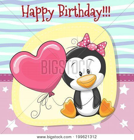 Greeting card Cute Cartoon Penin girl with balloon