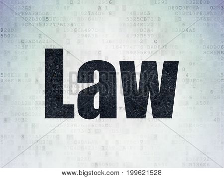 Law concept: Painted black word Law on Digital Data Paper background