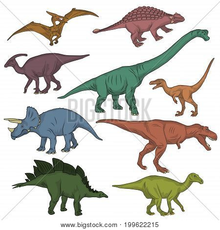 Collection of prehistoric jurrasic period fauna, wild dinosaur creatures, carnivorous beast and herbivorous. Realistick hand drawn sketch style.
