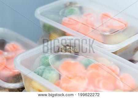 Meal Prep. Close Up Of Roast Dinners In Containers.