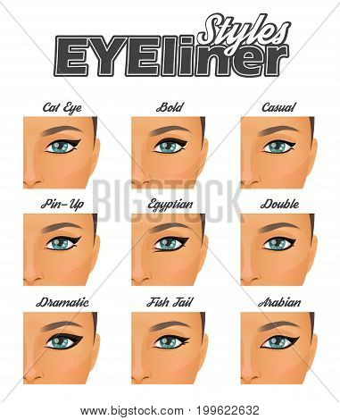 Make-up information chart showing variouswinged eyeliner styles and looks. Cateye, pin-up, bald, arabian and other variations, pretty woman face model.