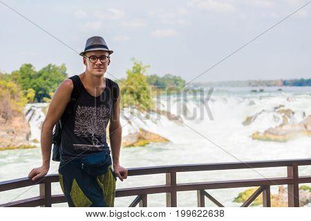 Tourist On Khone Phapheng Waterfall