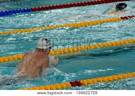 Hong Kong China - Oct 30 2016. Olympian and World Youth gold medalist Peter BERNEK (HUN) swimming in the Men's Individual Medley 200m Final. FINA Swimming World Cup Victoria Park Swimming Pool.
