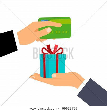 Hand giving credit card and present gift instead, isolated on the with background. Vector illustration