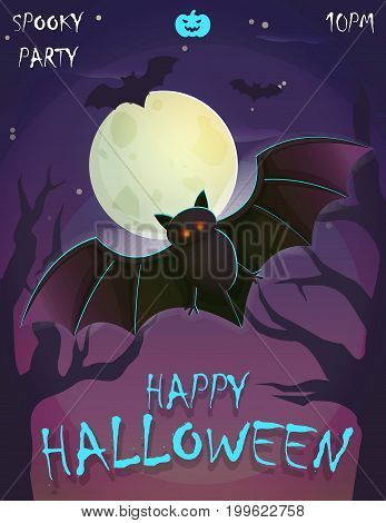Halloween festive poster card, party invitation template, spooky night landscape with trees, terifying vampire bat, giant moon and stars.