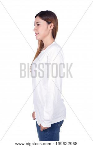 Woman In White Long Sleeve T-shirt Isolated On White Background (side View)