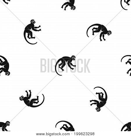 Capuchin monkey pattern repeat seamless in black color for any design. Vector geometric illustration
