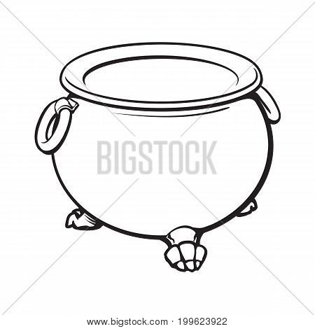 black and white cauldron with boiling green potion inside, sketch style vector illustration isolated on white background. Hand drawn, sketch style caldron, caulron, witchcraft accessory