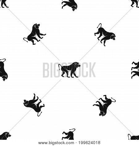 Japanese macaque pattern repeat seamless in black color for any design. Vector geometric illustration
