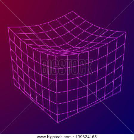 Wireframe Mesh Melt Box. Connection Structure. Digital Data Visualization Concept. Vector Illustration.