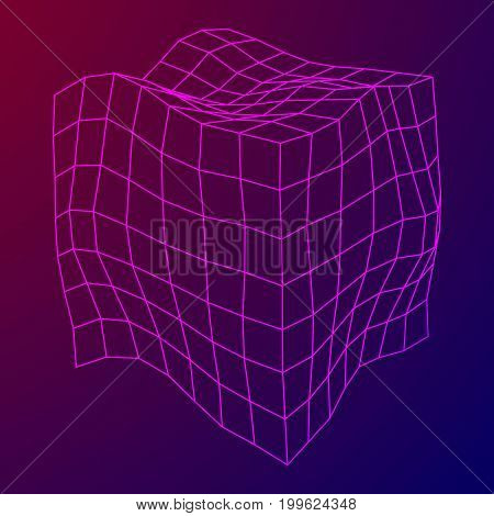 Wireframe Mesh Noise Box. Connection Structure. Digital Data Visualization Concept. Vector Illustration.