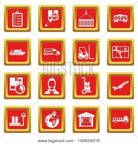 Logistic icons set in red color isolated vector illustration for web and any design