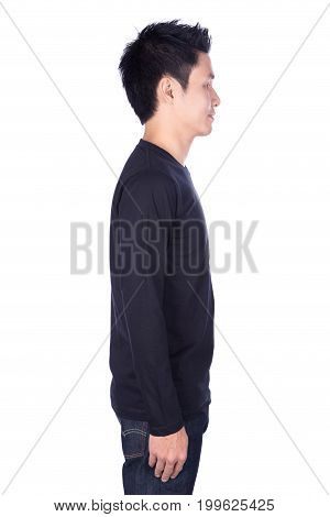 Man In Black Long Sleeve T-shirt Isolated On White Background (side View)