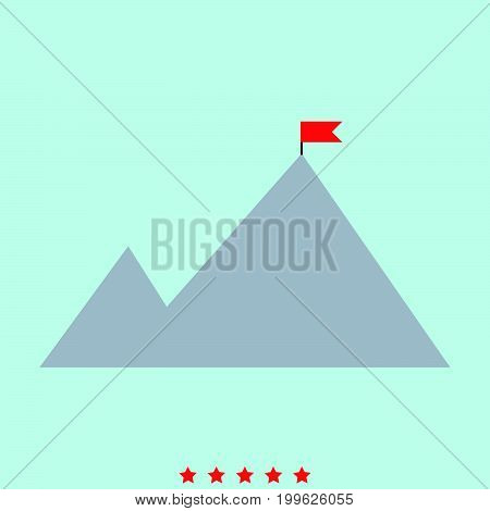 Mountains With A Flag On Top  It Is Color Icon .