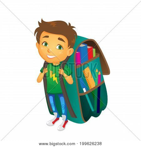 vector cartoon small boy, schoolboy wearing big huge schoolbag full of books smiles. Isolated flat illustration on a white background. Back to school concept