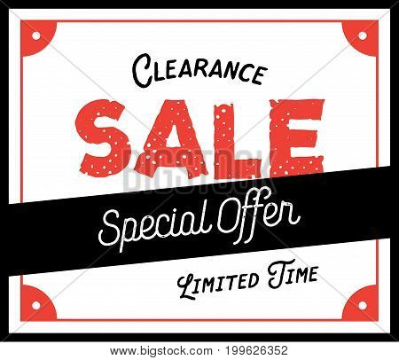 Clearance Sale Vintage Style Heading Design For Banner Or Poster. Sale And Discounts Concept. Vector