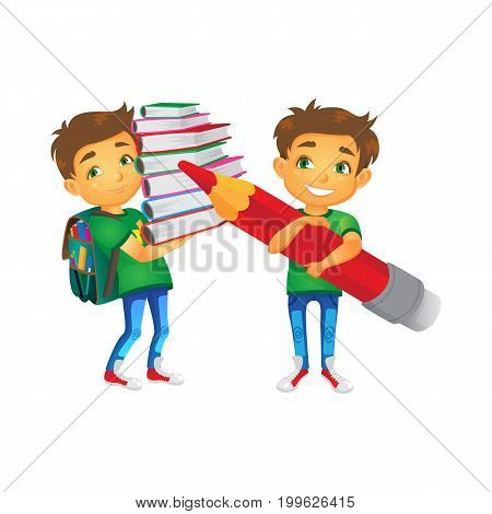 vector cartoon small schoolboy wearing schoolbag keeps big books pile smiles, another boy keeping big pencil . Isolated flat illustration on a white background. Back to school concept