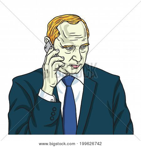 Vladimir Putin on Phone. Vector Portrait Cartoon Caricature Drawing Illustration. August 14, 2017