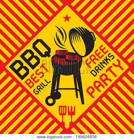 Color abstract illustration with Barbecue grill with an open lid and smoke and flames text BBQ Party Best Grill Free Drinks vector