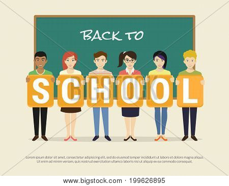 Back to school flat vector illustration of happy pupils in school classroom near chalk desk with big letters school. Smiling children standing with banner