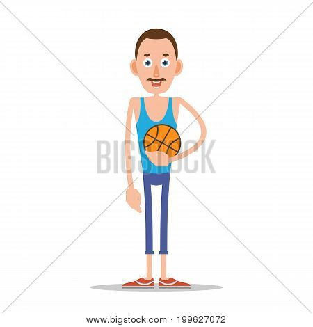 Teacher or coach standing and holding a basketball in his hand. Illustration in flat style. Isolated