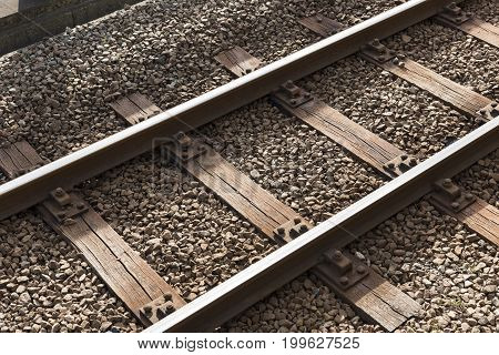 Railway or railroad block track structure Train railway iron closeup Technology concept