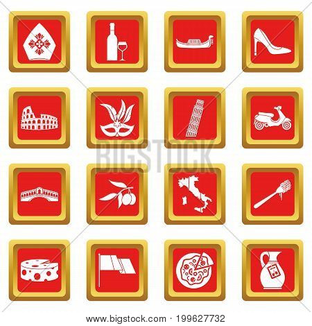 Russia icons set in red color isolated vector illustration for web and any design