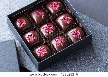 Luxury Handmade Bonbons With Freeze-dried Raspberry