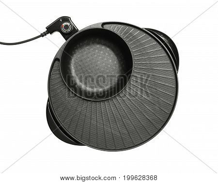 Electric bbq pot (with clipping path) isolated on white background