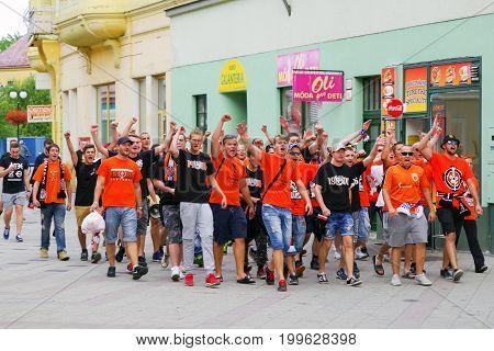 RUZOMBEROK, SLOVAKIA - AUGUST 3: Football fans of club MFK Ruzomberok before match in the city on August 3, 2017 in Ruzomberok