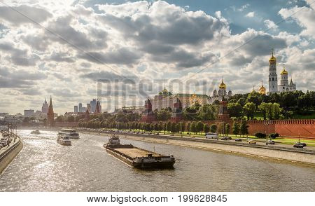 Panoramic view of Moskva River and Moscow Kremlin. Kremlin Embankment in Moscow, Russia.