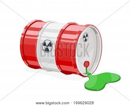 Red metal barrel for toxic and radioactive waste. Equipment transportation poisonous liquid. Isolated white background. Vector illustration.