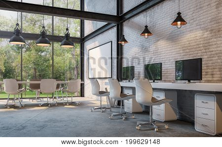 Loft style office 3d rendering image.There are white brick wallpolished concrete floor and black steel structure.Furnished with white furniture.There are large windows look out to see the nature