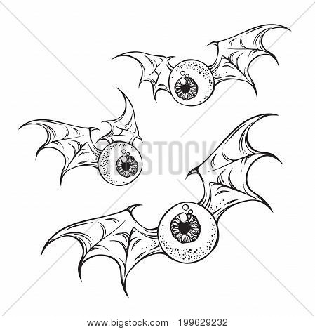 Flying eyeballs with creepy demon wings black and white halloween theme print design hand drawn vector illustration.