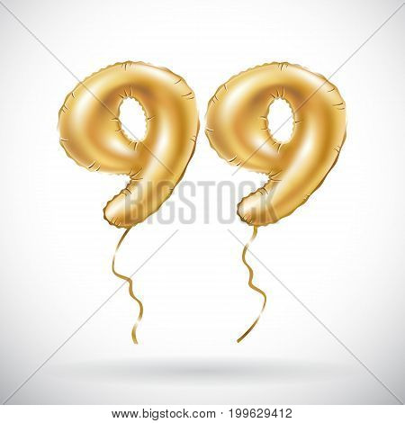 Vector Golden Number 99 Ninety Nine Metallic Balloon. Party Decoration Golden Balloons. Anniversary