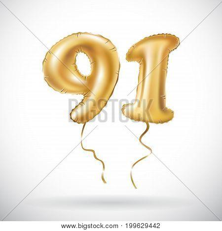 Vector Golden Number 91 Ninety One Metallic Balloon. Party Decoration Golden Balloons. Anniversary S
