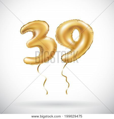 Vector Golden Number 39 Thirty Nine Metallic Balloon. Party Decoration Golden Balloons. Anniversary