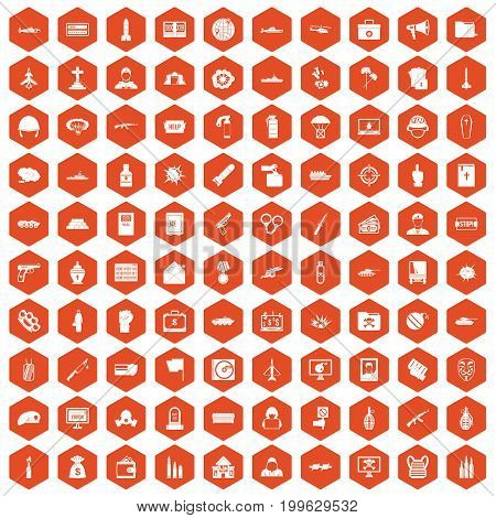 100 war icons set in orange hexagon isolated vector illustration