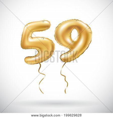 Vector Golden Number 59 Fifty Nine Metallic Balloon. Party Decoration Golden Balloons. Anniversary S