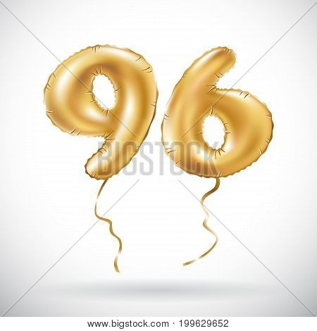 Vector Golden Number 96 Ninety Six Metallic Balloon. Party Decoration Golden Balloons. Anniversary S