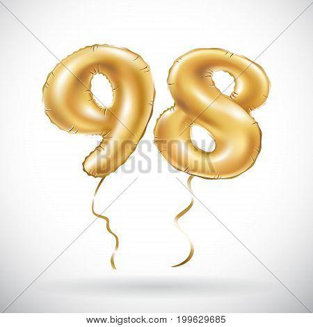 Vector Golden Number 98 Ninety Eight Metallic Balloon. Party Decoration Golden Balloons. Anniversary
