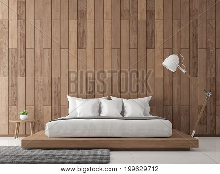 Modern contemporary bedroom interior 3d rendering image.There are white floor decorate wall with wood plank .Furnished with wood bed.