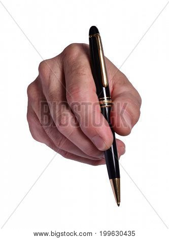 Front view from a hand holding elegant pen on white background.