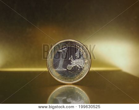 1 Euro Coin, European Union Over Gold Background