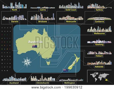 Australian And New Zealand Map With Skylines_1