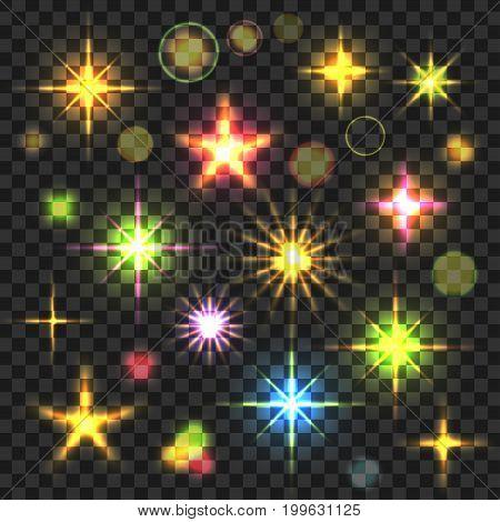 Vector Stars Set. Glowing light effect. Colorful sparkles and glare on transparent background. Festive illumination. Shining bursts. Bright explosions. Magic illustration.